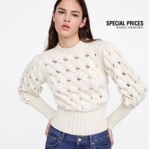 ZARA cable knit puff sleeve sweater